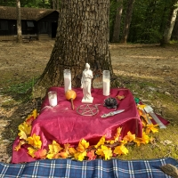 The pan-Pagan organization the Firefly House sets up an altar ahead of its Mabon celebration. (Photo by Stephanie Lecci)