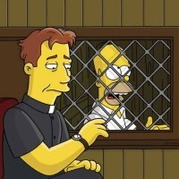 Homer Simpson goes to confession. Image courtesy of Flickr.