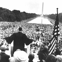Martin Luther King Jr. delivers a speech during the March on Washington. Wednesday, August 28, 1963 (National Archives)