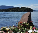 A memorial on Utoya Island, the site of the massacre (Paalso | Wikipedia)