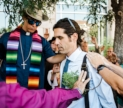 Scott Warren receives a blessing from faith leaders in front of the federal courthouse in Tucson AZ, prior to testifying in his own trial. June 5, 2019. Photo by Ash Ponder-