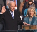 Pressident Joe Biden taking the oath of office. United States Capital, West Front, Washinton DC. Image courtesy Biden Inaugural Committee